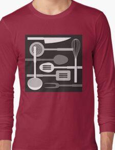 Kitchen Utensil Silhouettes Monochrome III Long Sleeve T-Shirt