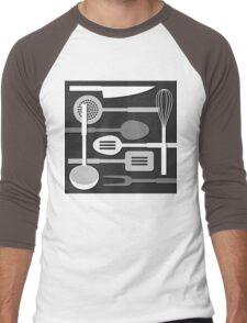 Kitchen Utensil Silhouettes Monochrome III Men's Baseball ¾ T-Shirt