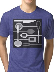 Kitchen Utensil Silhouettes Monochrome III Tri-blend T-Shirt