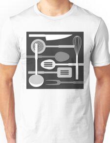 Kitchen Utensil Silhouettes Monochrome III Unisex T-Shirt