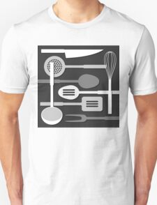 Kitchen Utensil Silhouettes Monochrome III T-Shirt