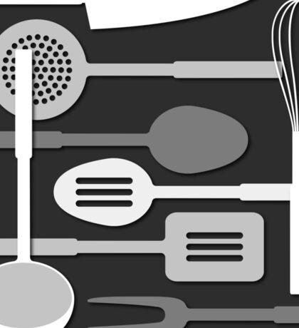 Kitchen Utensil Silhouettes Monochrome III Sticker