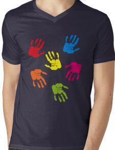 Colourful Hands Mens V-Neck T-Shirt