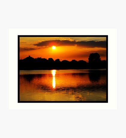 Golden Sunset on Water Art Print
