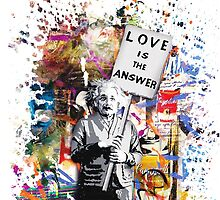 Albert Einstein Love Is The Answer Banksy by baray7
