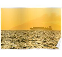 Ship sailing in ocean Poster