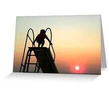 Sliding Board Sunset Greeting Card