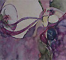 Ribbons through time (eggs rep. birth) by Ellen Keagy