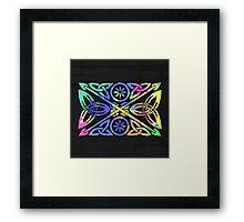 Colorful Celtic design on dark background Framed Print