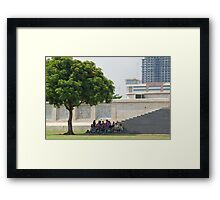 Quezon Memorial Circle activity: students meeting under the tree 24 Framed Print