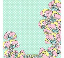 cute polka dot background with flowers Photographic Print