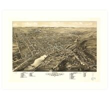 Bird's eye view of Waukesha Wisconsin (1880) Art Print