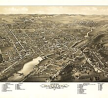 Bird's eye view of Waukesha Wisconsin (1880) by allhistory