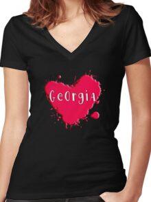 Georgia Splash Heart Georgia Women's Fitted V-Neck T-Shirt
