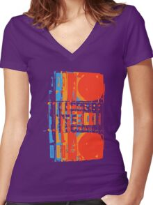 Boombox Women's Fitted V-Neck T-Shirt