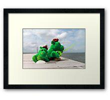 Loch Ness monster on vacation Framed Print