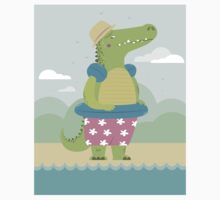 Alligator on the beach Kids Clothes