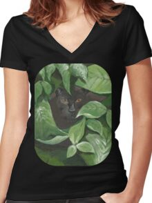 Black Panther (green, black) Women's Fitted V-Neck T-Shirt