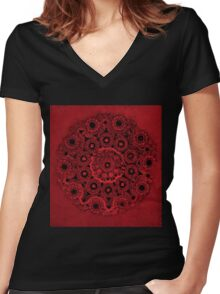 Doily Joy Mandala- Deep Roots Women's Fitted V-Neck T-Shirt
