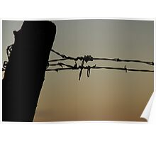Fencepost and wire in silhouette Poster