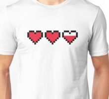 8 bit Hearts, Near Full Health Unisex T-Shirt
