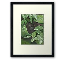 Black Panther in the Jungle (green, black) Framed Print