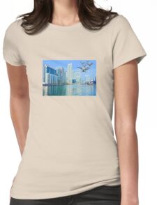 Drone swarm over the Docklands! Womens Fitted T-Shirt