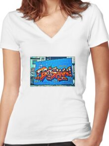 Street art in Reykjavik Women's Fitted V-Neck T-Shirt