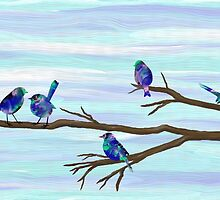 Painted Bluebirds on a Branch by BelovedEarth