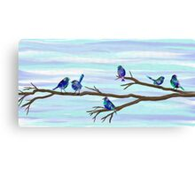 Painted Bluebirds on a Branch Canvas Print