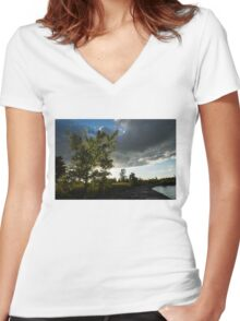 Cottonwood Tree Dramatic Light Women's Fitted V-Neck T-Shirt
