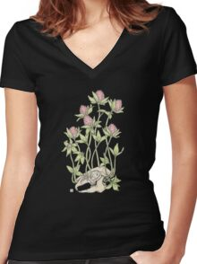 Red Clover All Over Women's Fitted V-Neck T-Shirt