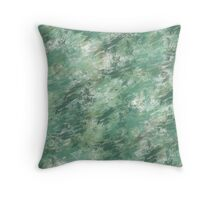 Green Seascape Grunge abstract Throw Pillow