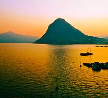 Night Falls On Lake Lugano Switzerland by Ronald Rockman