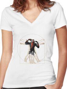 Vitruvian Spiderman Women's Fitted V-Neck T-Shirt