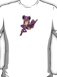 Cute Purple Tree Frog on a Branch T-Shirt