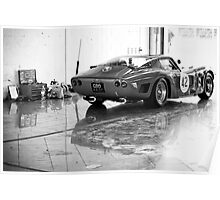 Old Sports Car in Garage Poster