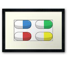 Pills - Red,Blue,Green,Yellow Framed Print