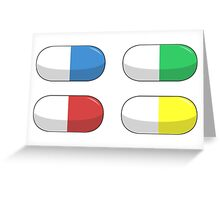 Pills - Red,Blue,Green,Yellow Greeting Card