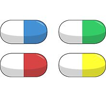 Pills - Red,Blue,Green,Yellow Photographic Print