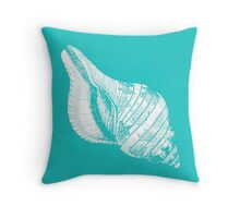 Aqua Blue with White Shell Throw Pillow