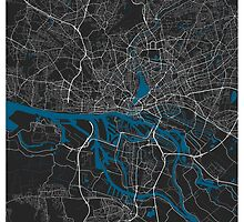 Hamburg city map grey colour by mmapprints