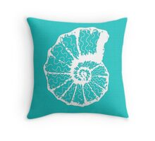 Aqua Blue with White Spiral Shell Throw Pillow