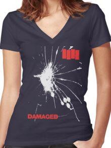 Black Flag - Damaged Women's Fitted V-Neck T-Shirt