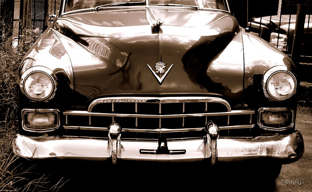 1948 cadillac front in closeup-b&w  sepia by henuly1