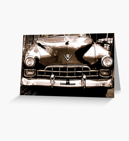 1948 cadillac front in closeup-b&w  sepia Greeting Card