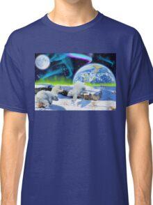 Three Playful Polar Bear Cubs & Aurora Earth Day Art Classic T-Shirt