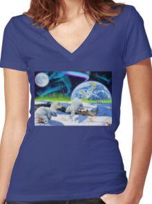 Three Playful Polar Bear Cubs & Aurora Earth Day Art Women's Fitted V-Neck T-Shirt