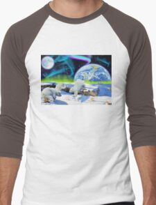 Three Playful Polar Bear Cubs & Aurora Earth Day Art Men's Baseball ¾ T-Shirt