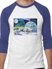 Three Playful Polar Bear Cubs & Aurora Earth Day Art Men's Baseball ¾ T-Shirt